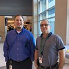 Two Business Operations department staffmembers at retirement reception.