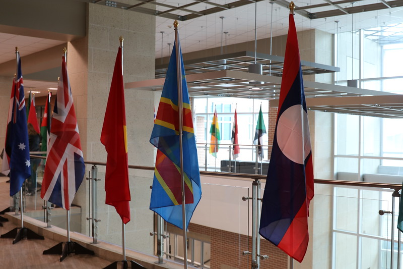 Flags from various countries lined up.