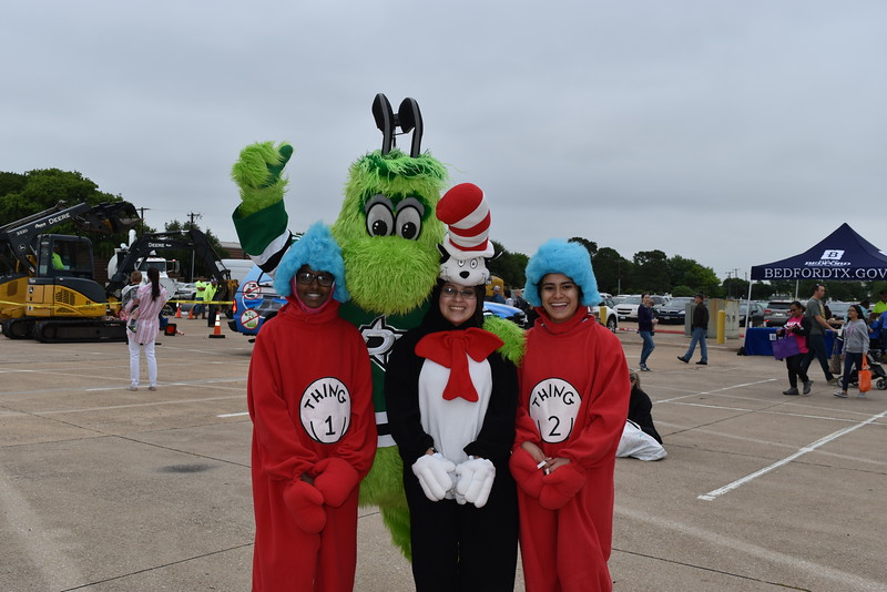 Dr. Suess characters and the Dallas Stars mascot.