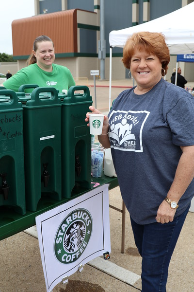 Volunteers get coffee to stay energized.
