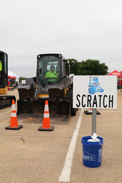 Construction equipment on display.
