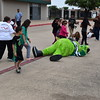 The Dallas Stars mascot takes a short break from standing.