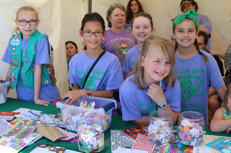 Girl Scouts pose for a picture.