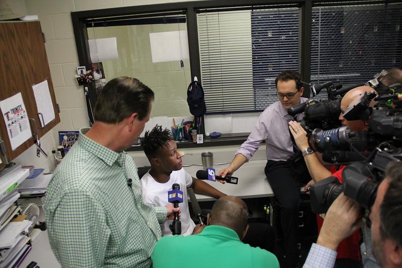 News anchors interview Myles.