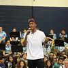 Myles Turner talks to students.