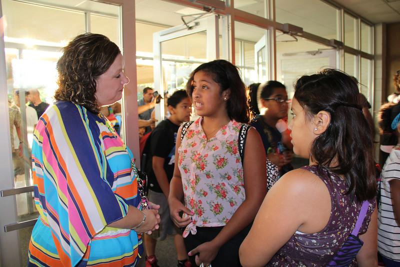New principal talking to students.