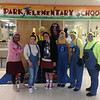 Teachers dressed up like characters from Despicable Me.