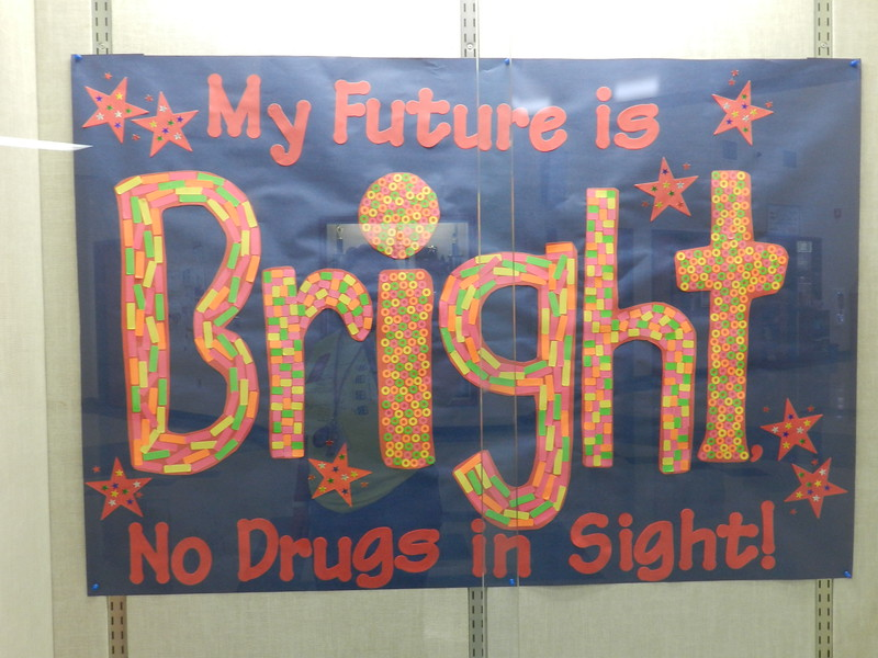 Colorful anti-drugs sign for Sunglasses Day.