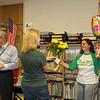 Teacher receives flowers.