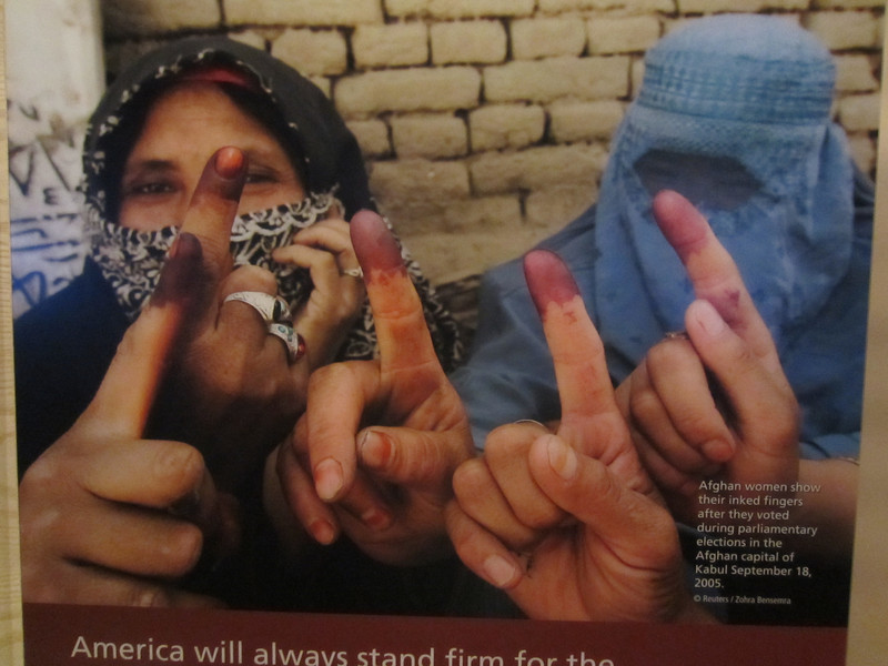 A poster of Afghan women after they voted.