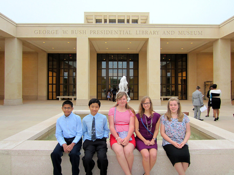 Students in front of the George W. Bush Presidential Library and Museum.