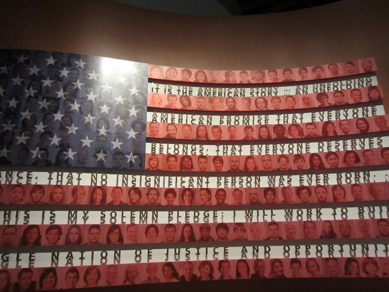 Mosaic of Americans forms the flag of the U.S.