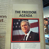A sign detailing Bush's plan to protect freedom.