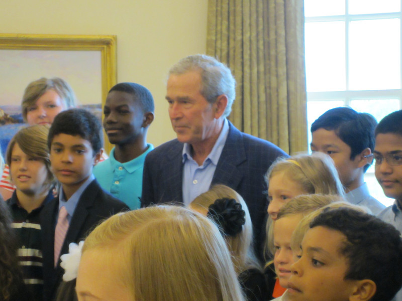 George W. Bush gets serious with the students.