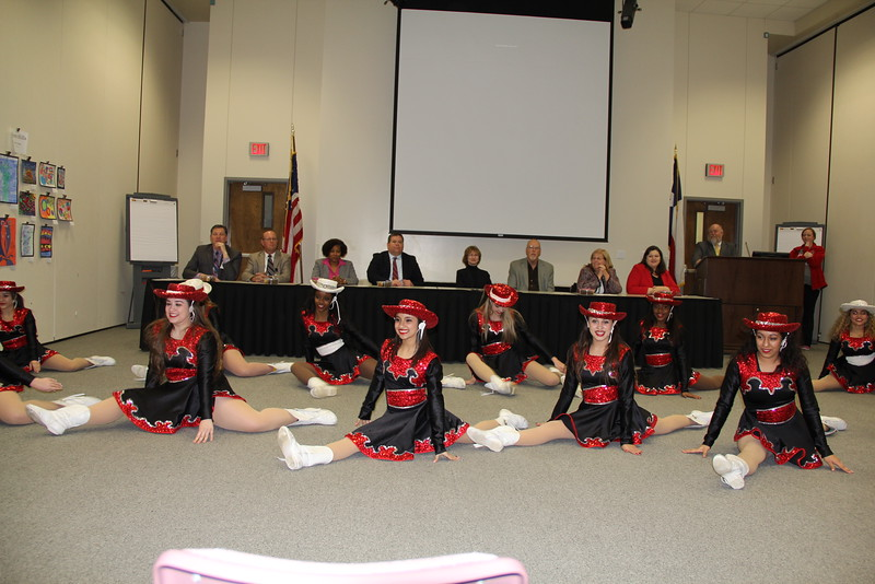 The Trinity drill team performing.