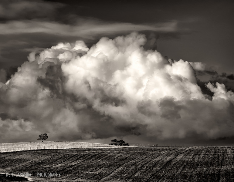 Storm clouds passing over farm fields on the outskirts of Tres Pinos, CA