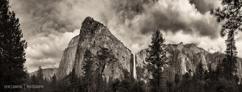 9-image panorama of Bridalveil Fall