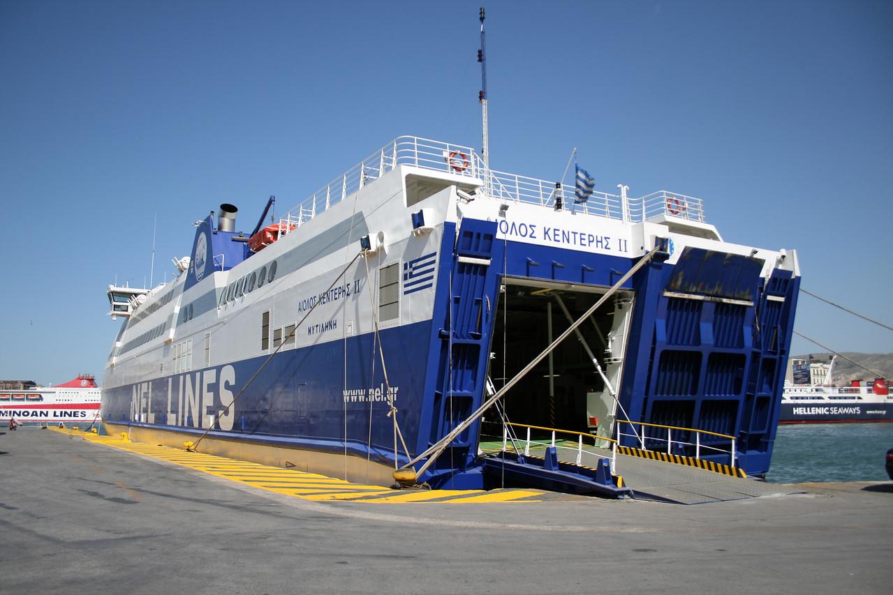 HSC AEOLOS KENTERIS II docked in Piraeus waiting for repairs after crashing against RODANTHI.