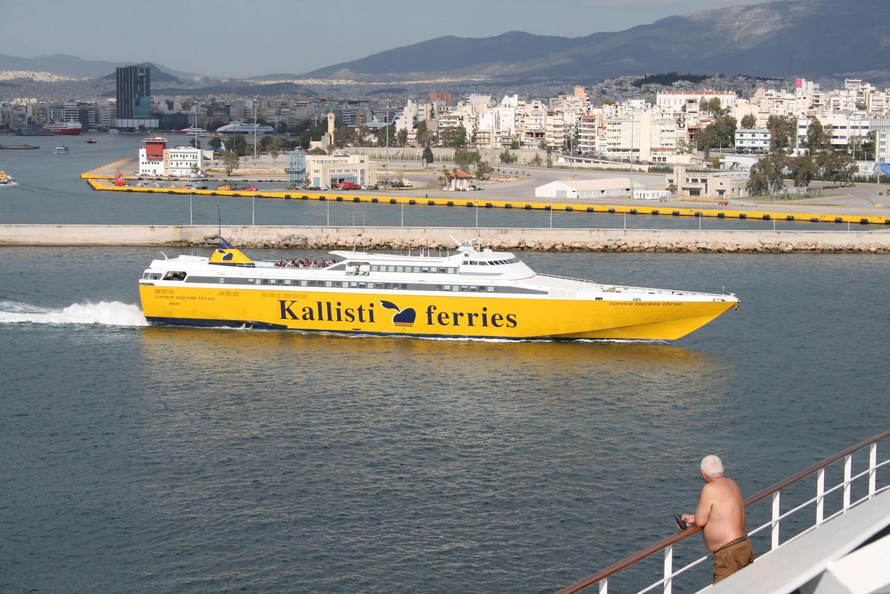 HSC CORSICA EXPRESS THREE departing from Piraeus to Tinos - Mykonos - Ikaria.