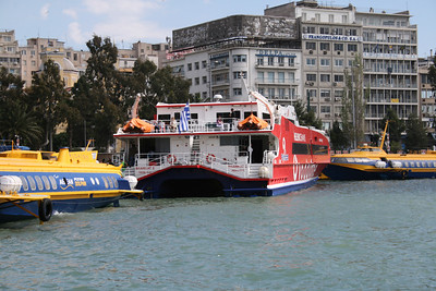 HSC FLYINGCAT 2 moored in Piraeus among FLYING DOLPHIN ZEUS and HERMES.