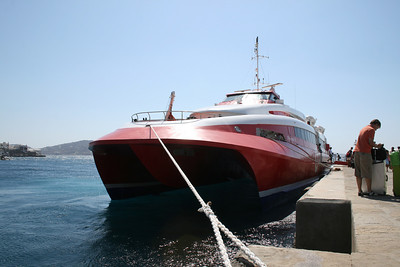 HSC FLYINGCAT 4 moored in Mykonos.