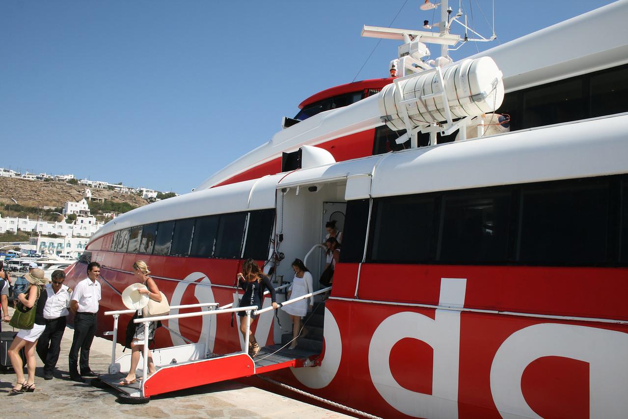 HSC FLYINGCAT 4 disembarking in Mykonos.