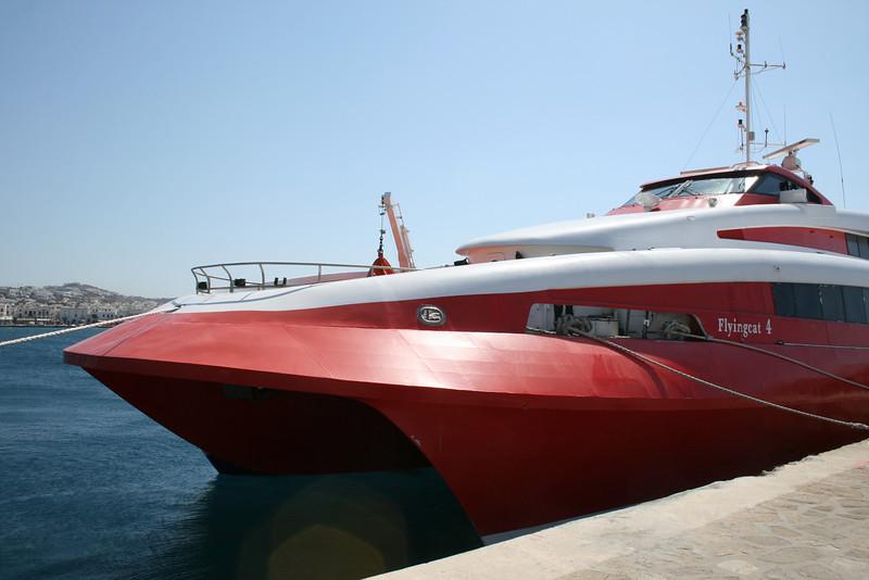 HSC FLYINGCAT 4 moored in Mykonos.