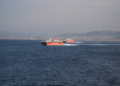 HSC HIGHSPEED 1 and HIGHSPEED 3 sailing from Piraeus to Kyklades.