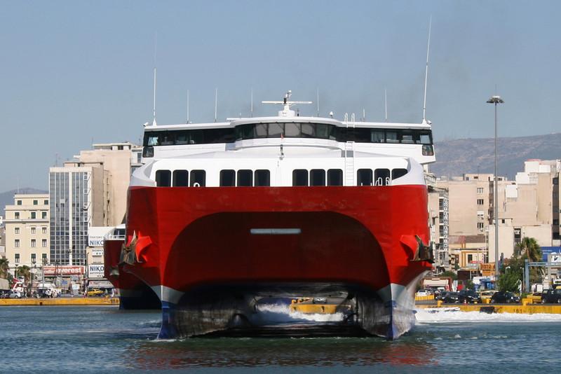 HSC HIGHSPEED 5 departing from Piraeus.