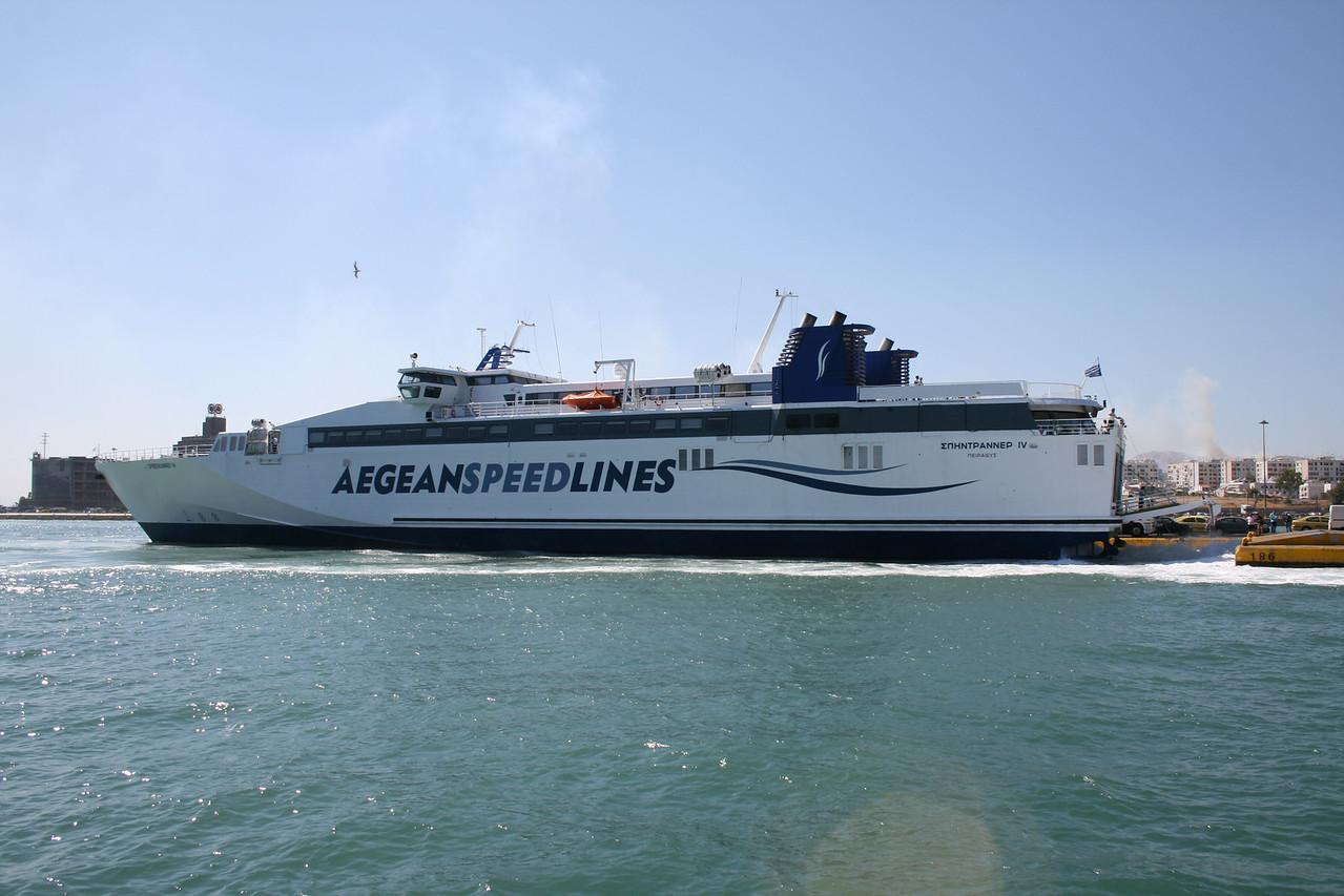 2009 - SPEEDRUNNER IV approaching astern in Piraeus.