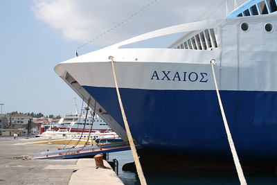 Two-way ferry ACHAIOS moored in Corfu island. On the bottom EKATERINI P.