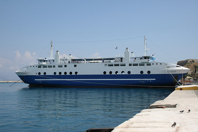 Two-way ferry ACHAIOS moored in Corfu island.