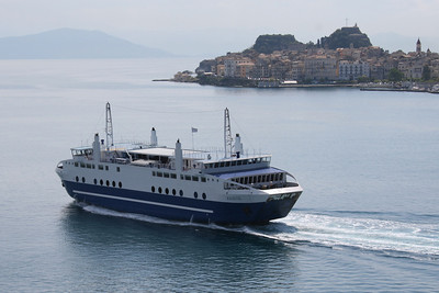 Two-way ferry ACHAIOS leaving Corfu island.