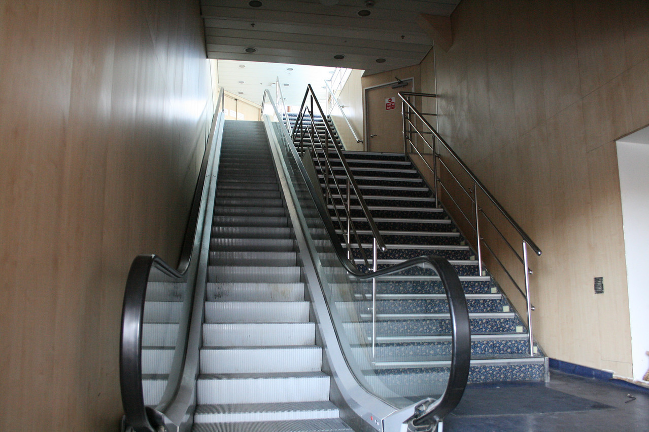 Two-way ferry ACHAIOS : stairs to passenger lounge.