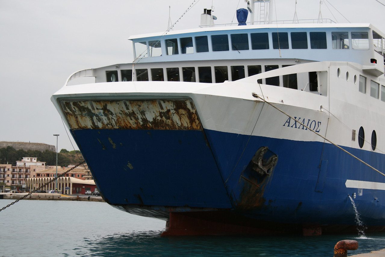 Two-way ferry ACHAIOS moored in Corfu island.