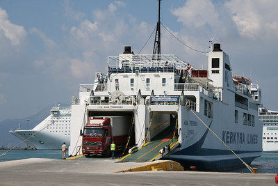 F/B AGIA THEODORA moored in Corfu. Disembarking trucks.