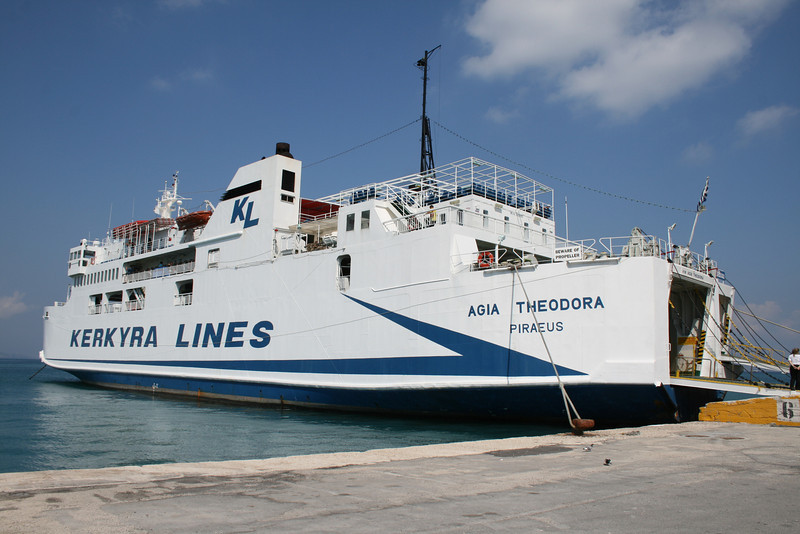 F/B AGIA THEODORA moored in Corfu.