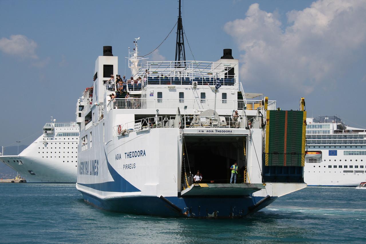 F/B AGIA THEODORA arriving to Corfu. Approaching astern.