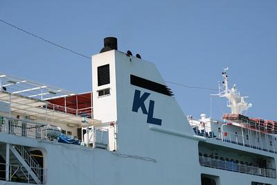 F/B AGIA THEODORA : Kerkyra Lines logo on funnel.