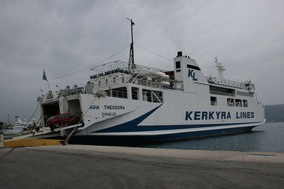 F/B AGIA THEODORA moored in Corfu. Embarking to Igoumenitsa.