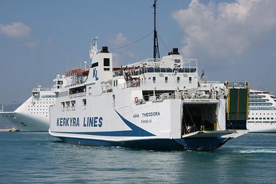 F/B AGIA THEODORA arriving to Corfu. Maneuvering.