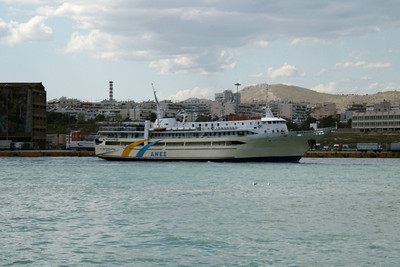 F/B AGIOS NEKTARIOS AIGINAS departing from Piraeus.