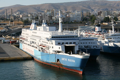 2009 - F/B ANTHI MARINA laid up in Piraeus with most of the fleet of G&A Ferries due to the economic problems of the owner. Nearby MILENA and DIMITROULA.