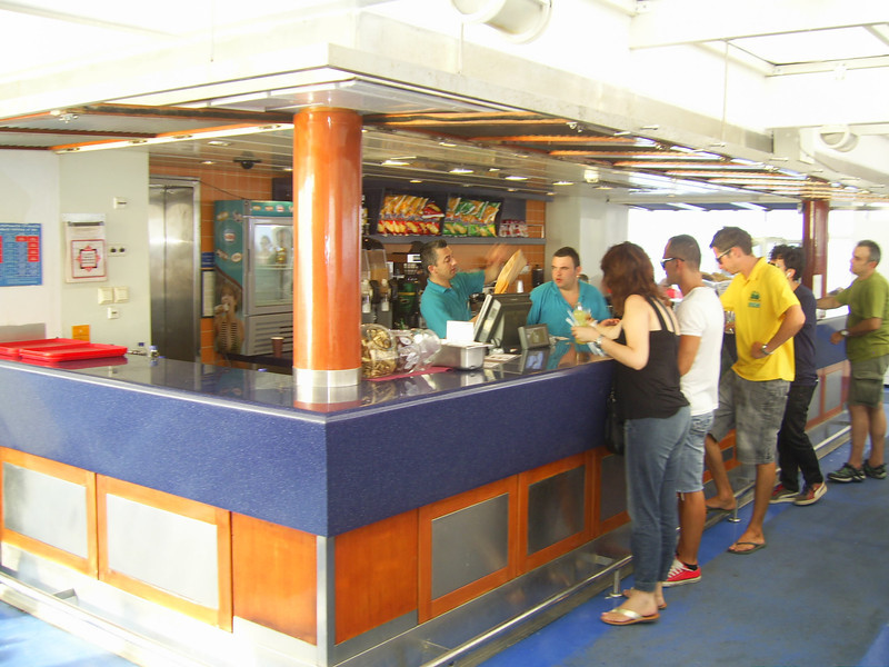 2012 - On board BLUE STAR NAXOS : open deck Flocafè bar.