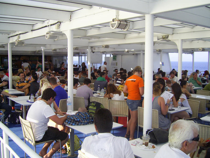 2012 - On board BLUE STAR NAXOS : deck passengers.