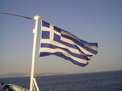 2012 - On board BLUE STAR NAXOS : Hellenic flag.