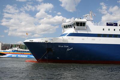 2008 - F/B BLUE STAR NAXOS moored in Piraeus. At the bottom HSC SEA RUNNER.