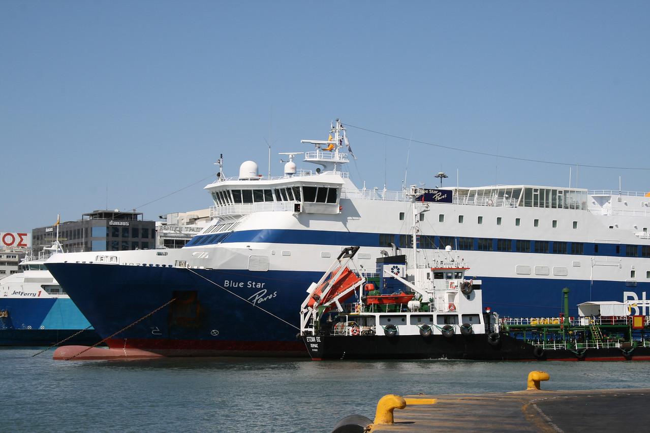 2009 - F/B BLUE STAR PAROS moored in Piraeus. Water supplying.