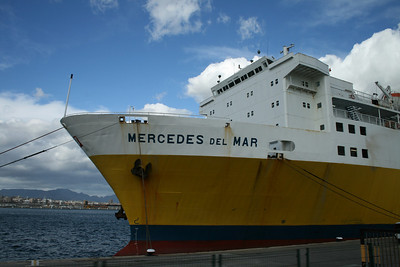 F/B MERCEDES DEL MAR moored in Palma de Mallorca. The bow.