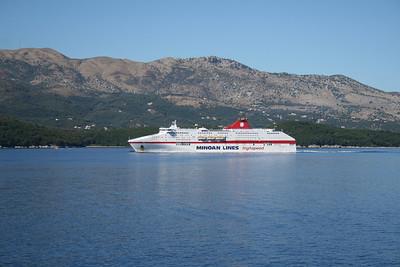 CRUISE EUROPA coasting Corfu on Ancona - Igoumenitsa - Patras route.